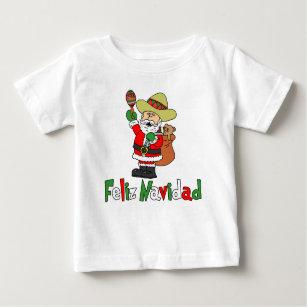 79917f27f85db Feliz Navidad Cartoon Santa Sombrero Maracas Baby T-Shirt