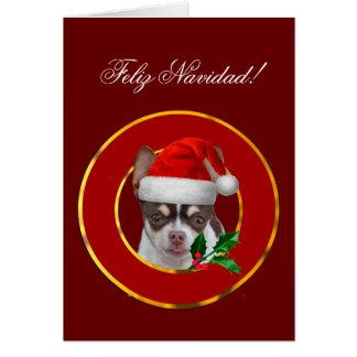 Feliz Navidad chihuahua puppy greeting card