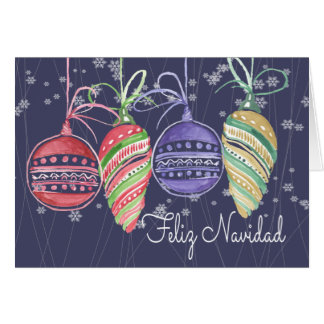 Feliz Navidad Christmas Baubles Watercolor Card