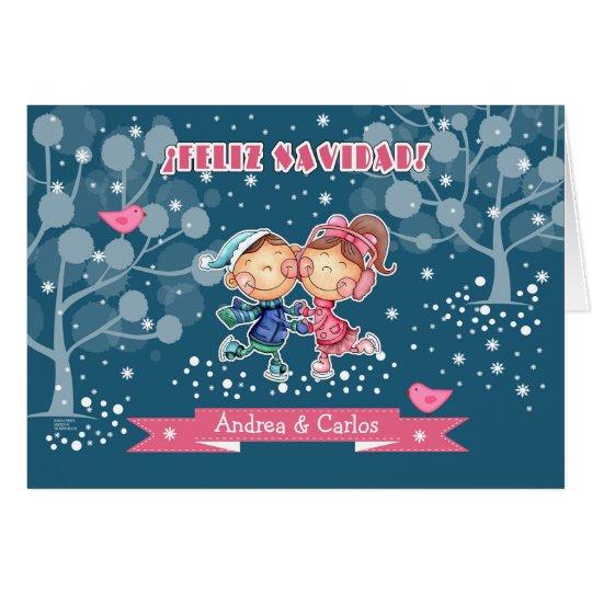 Feliz Navidad. Christmas Card for kids in Spanish