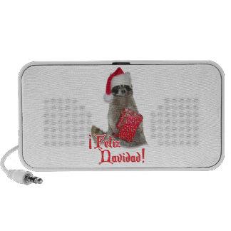 Feliz Navidad - Christmas Raccoon Bandit Mp3 Speakers