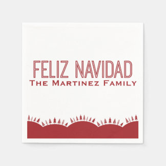 Feliz Navidad Christmas Tree Napkins Disposable Serviette
