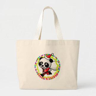 Feliz Navidad - Cute Cartoon Panda Bear Santa Canvas Bags