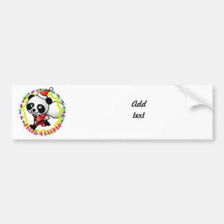 Feliz Navidad - Cute Cartoon Panda Bear Santa Car Bumper Sticker