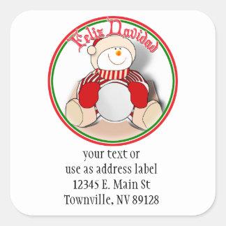 Feliz Navidad - Cute Cutout Snowman Square Sticker
