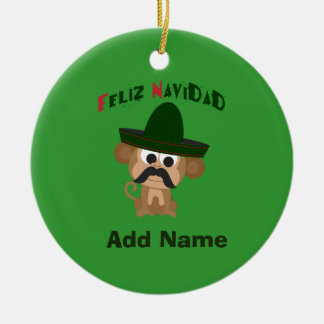 Feliz Navidad! Cute monkey Christmas Ornament