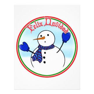 Feliz Navidad - Cute Snowman With Blue Mittens Flyer