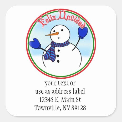 Feliz Navidad - Cute Snowman With Blue Mittens Square Sticker