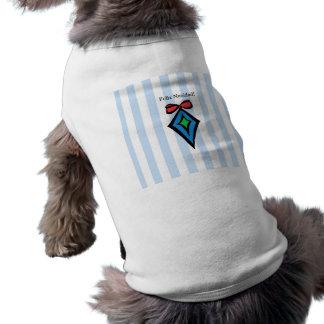 Feliz Navidad Diamond Ornament Doggie Tank Top BLU Sleeveless Dog Shirt