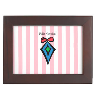Feliz Navidad Diamond Ornament Keepsake Box Pink
