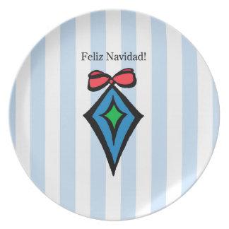 Feliz Navidad Diamond Ornament Melamine Plate BL
