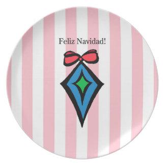Feliz Navidad Diamond Ornament Melamine Plate PK