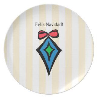 Feliz Navidad Diamond Ornament Melamine Plate YEL
