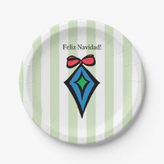 Feliz Navidad Diamond Ornament Paper Plate Green
