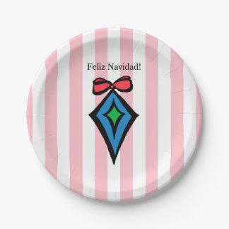 Feliz Navidad Diamond Ornament Paper Plate Pink