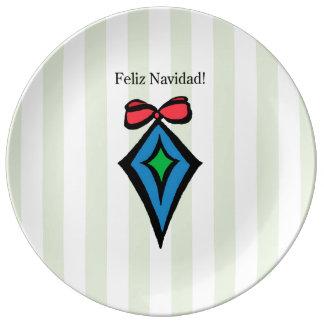 Feliz Navidad Diamond Ornament Porcelain Plate GR