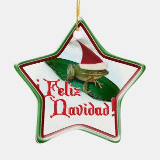 Feliz Navidad - Frog Dashing Through the Snow Christmas Ornament