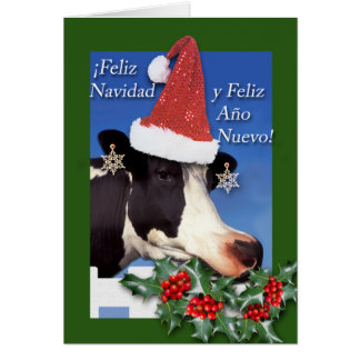 Feliz Navidad, Funny Cow Eating Boughs of Holly Card