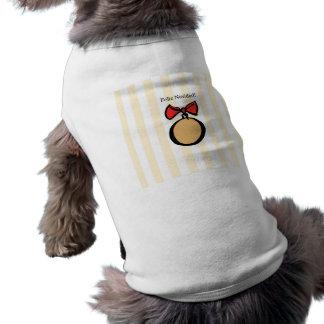 Feliz Navidad Gold Ornament Doggie Tank Top Yellow Sleeveless Dog Shirt