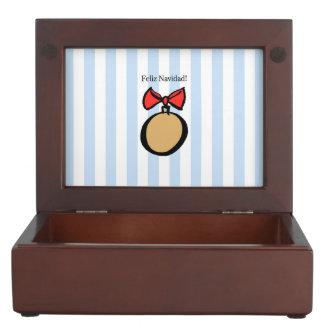 Feliz Navidad Gold Ornament Keepsake Box Blue