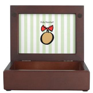 Feliz Navidad Gold Ornament Keepsake Box Green