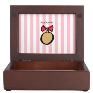 Feliz Navidad Gold Ornament Keepsake Box Pink