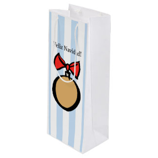 Feliz Navidad Gold Round Ornament Wine Bag Blue