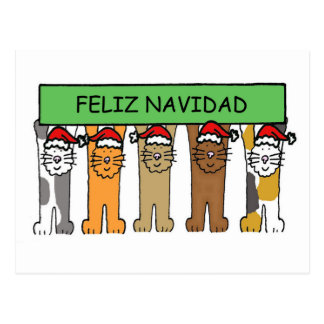 Feliz Navidad Happy Christmas in Spanish Postcard