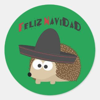 Feliz Navidad Hedgehog Classic Round Sticker