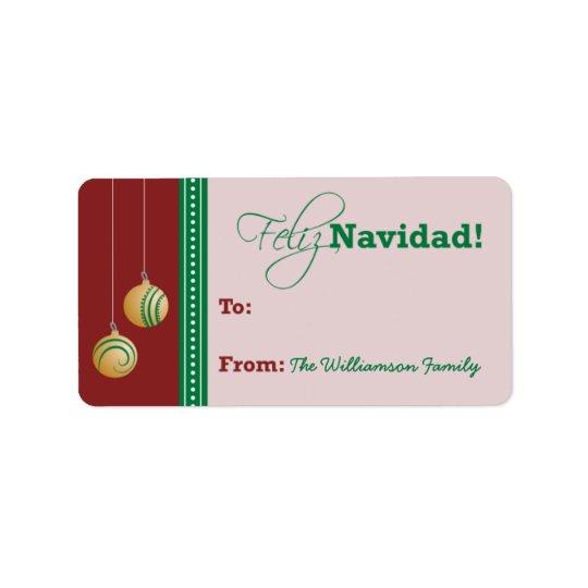 Feliz Navidad Holiday Gift Tag (red)