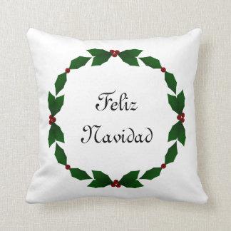 Feliz Navidad Holly Holiday Pillow