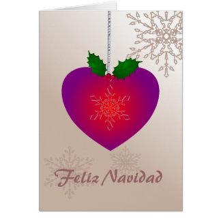 Feliz Navidad, Love heart shape n snowflakes Card