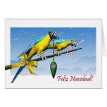 Feliz Navidad Macaw Parrot Spanish Christmas Card