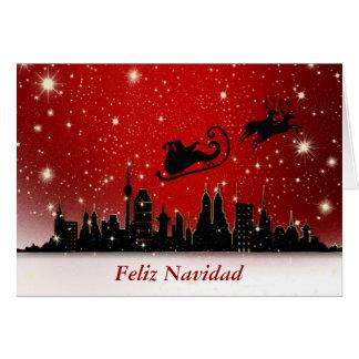 Feliz Navidad Merry Christmas in Spanish and santa Card