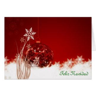 Feliz Navidad Merry Christmas in Spanish baubles Card