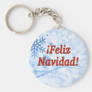 ¡Feliz Navidad! Merry Christmas in Spanish rf Basic Round Button Key Ring