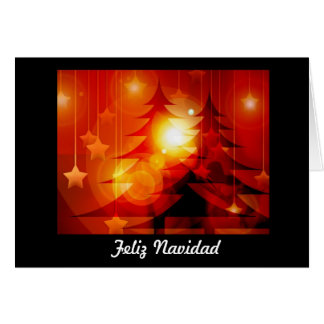 Feliz Navidad Merry Christmas in Spanish tree Card