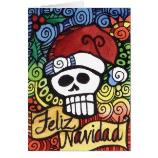 Feliz Navidad Mexican Sugar Skull Santa Greeting Card