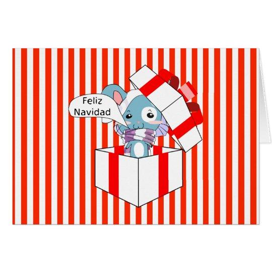 Feliz Navidad Mouse in Gift Box Card