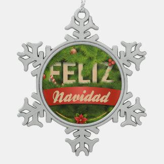 Feliz Navidad Pewter Snowflake Decoration