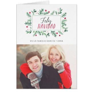 Feliz Navidad Pintado Follaje   Tarjeta de Navidad Card