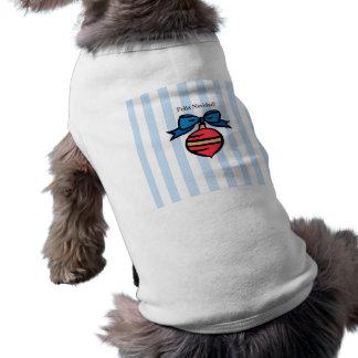Feliz Navidad Red Ornament Doggie Tank Top Blue Sleeveless Dog Shirt