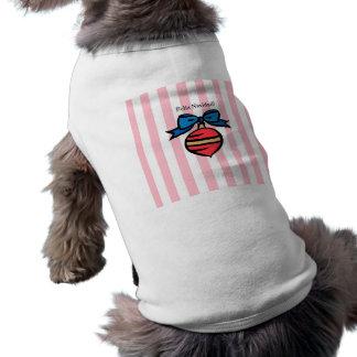 Feliz Navidad Red Ornament Doggie Tank Top Pink Sleeveless Dog Shirt