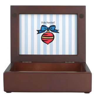 Feliz Navidad Red Ornament Keepsake Box Blue