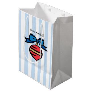Feliz Navidad Red Ornament Medium Shopping Blue Medium Gift Bag