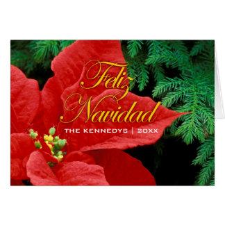 Feliz Navidad - Red Poinsettia and fir bow Card