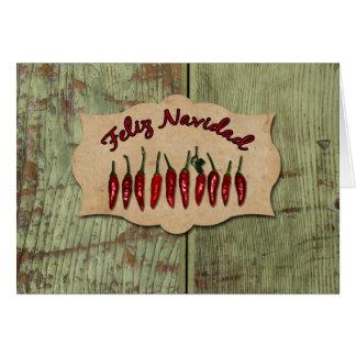 Feliz Navidad Rustic Red Pepper Photo Christmas Greeting Card