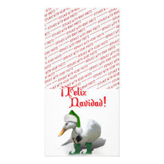 Feliz Navidad - Santa's Helper Elf Duck Custom Photo Card