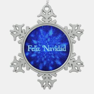 Feliz Navidad - Snowburst Snowflake Pewter Christmas Ornament