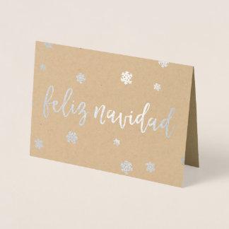 Feliz Navidad Snowflakes Foil Card